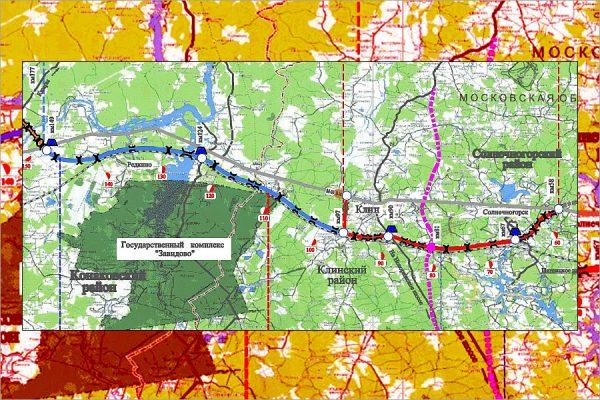 Схема прохождения трассы км 58 - км 149