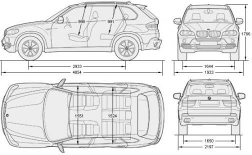 Габаритные размеры BMW X-5