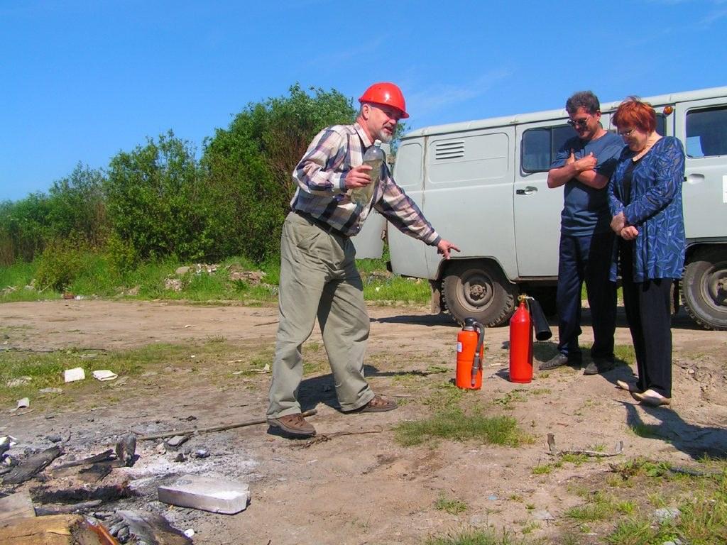 Испытания огнетушителя на открытой местности