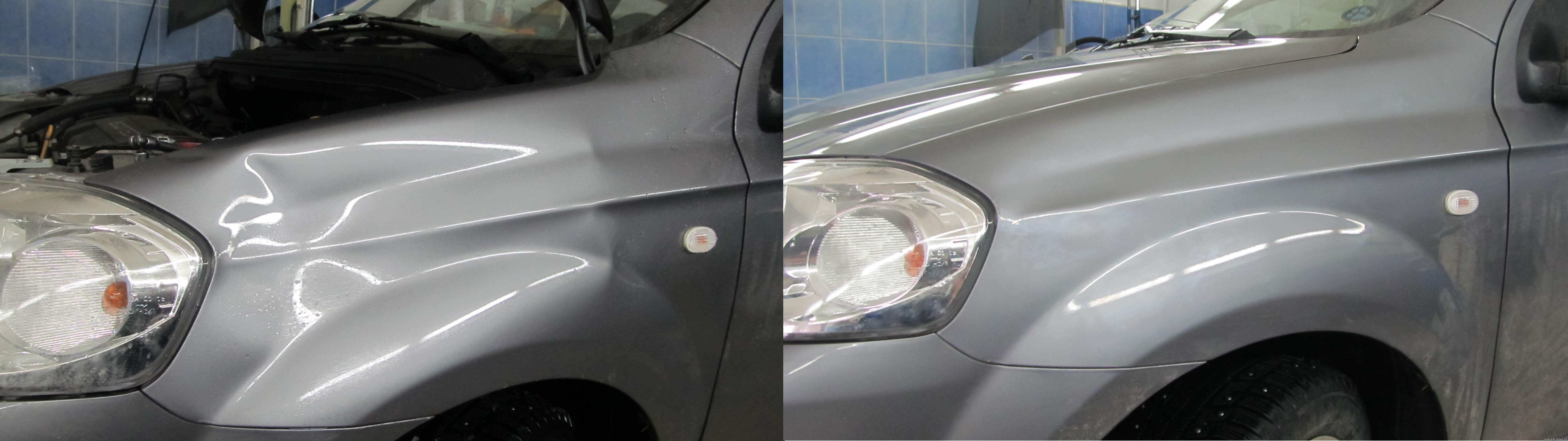 Как удалить небольшую вмятину на машине