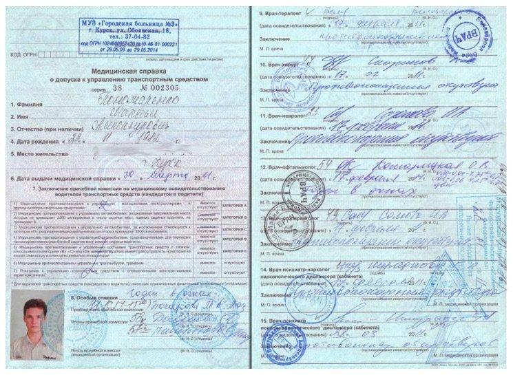 На фото - медицинские справки, которые нужны для замены водительского удостоверения