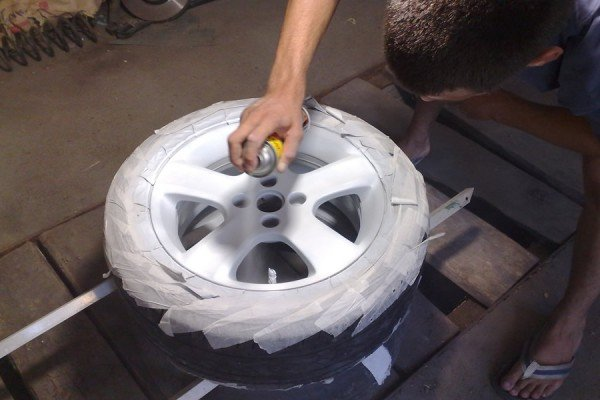 Нанесение краски на колесные диски