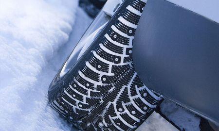 Так выглядят зимние шины с шипами