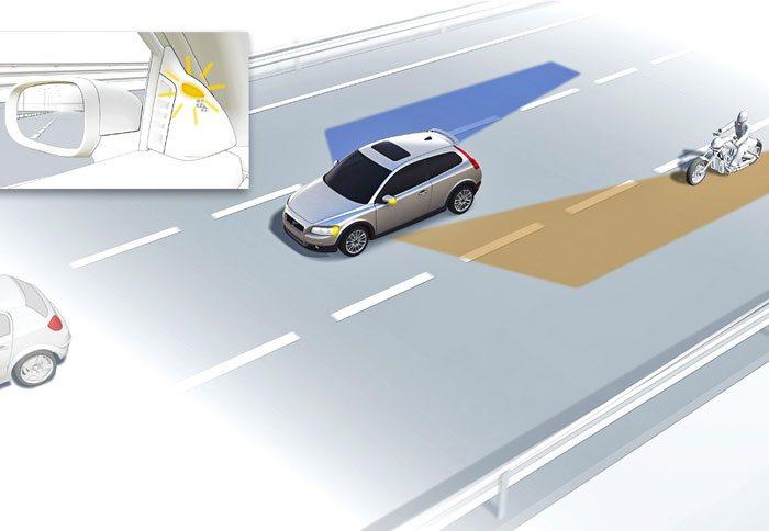 Работа системы слежения за слепой зоной на автомобиле