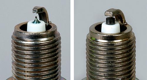 Сравните толщину центрального электрода