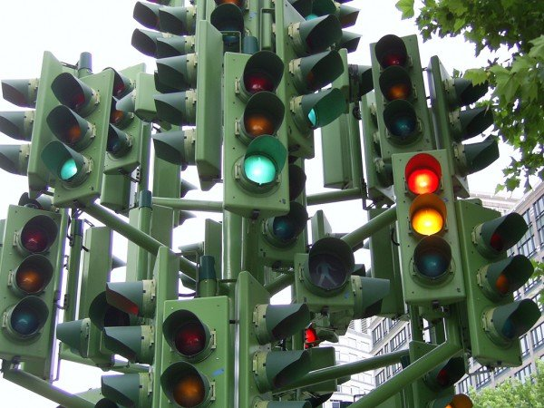 Торможение перед светофором на механике