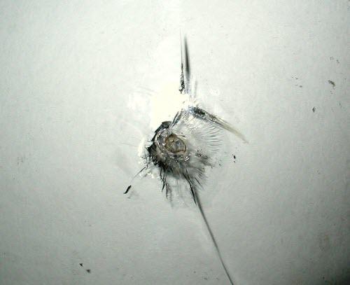 Трещина от удара на лобовом стекле