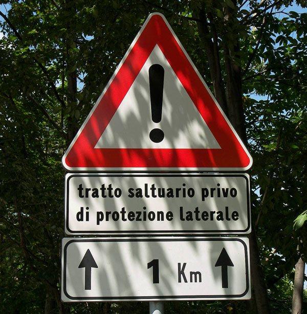 Вы можете столкнуться с опасностями, которые не описаны другими знаками
